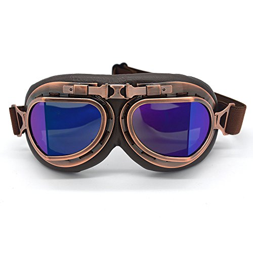 Evomosa Vintage Goggles Aviator Pilot Style Motorcycle Cruiser Scooter Goggle Bike Racer Cruiser Touring Half Helmet Goggles (Copper, Blue)