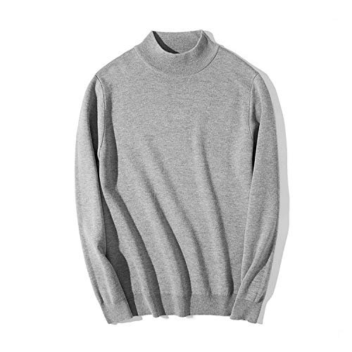 2019 Mock-Neck Sweater Men Cotton Knitted Men Pullover Autumn Winter Men Sweater,Gray,L
