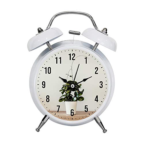 (Child Alarm Clock Retro Silent Pointer Watches Alarm Clock Strong Bedside Tables Light House Decorations Green Plant with White Ceramic Pot)