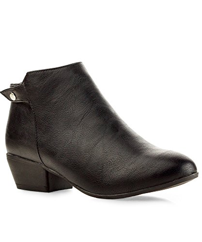 RF ROOM OF FASHION Dolce-31 Ankle Boots (Black PU Size - Dark Black Nude