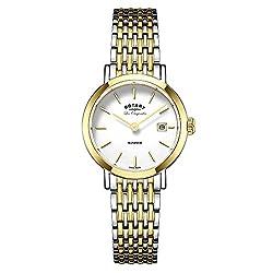 Rotary Watches Women's Swiss Windsor Two Tone Bracelet Watch LB90154/01