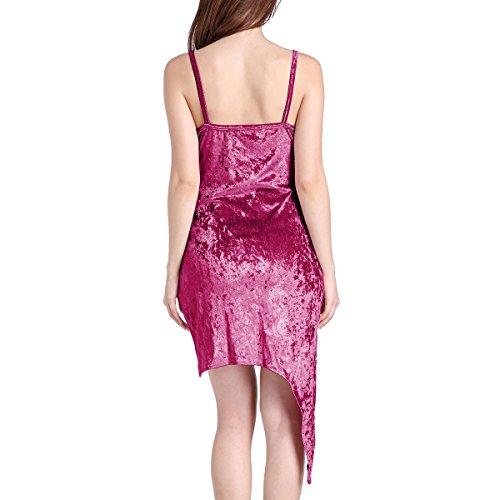 Mujeres V cuello Sling Beach Dress Irregular verano vestido Mini Colores Lisos Morado