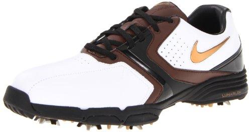 Nike Golf Men's Nike Lunar Saddle Golf Shoe,White/Metallic Stout/Light Chocolate/Black,9 M US - Nike Mens Saddle