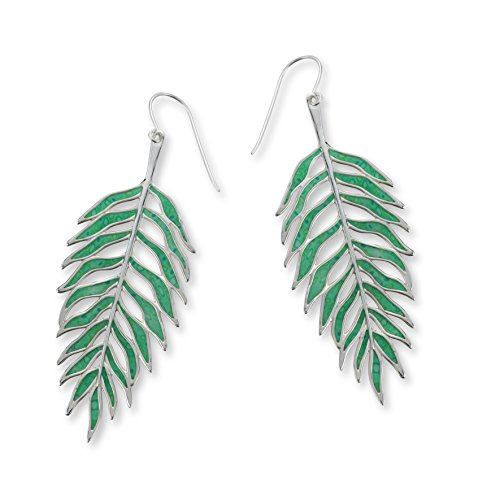 (Adina Plastelina Sterling Silver Palm Leaf Drop Earrings with Translucent Jade Color Pattern, 3