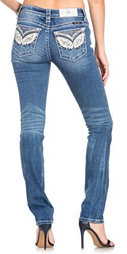 Miss Me Women's Mid-Rise Embellished Straight Leg Jeans (Medium Blue, -
