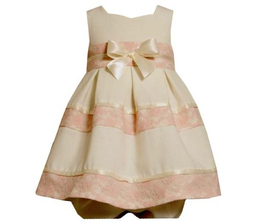 Bonnie Jean Baby/NEWBORN 3M-9M 2-Piece IVORY PINK LACE OVER LINEN BOW FRONT SWEETHEART NECKLINE Special Occasion Flower Girl Party Dress