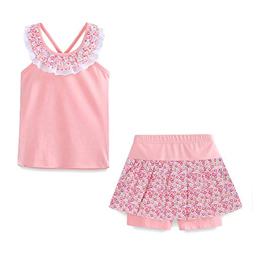 Little Girls Summer Clothes Tank Top and Skirted Shorts Set Light Pink Size 7T
