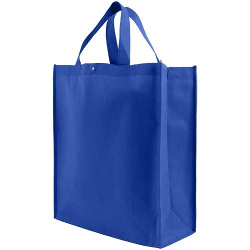 Reusable Grocery Tote Bag Large 10 Pack - Royal (Blue Tote)