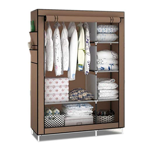 (ALWUD Portable Wardrobe Clothes Storage Organizer, Closet Shelves with Hanging Rod Dust-Proof Sealing Non-Woven Fabric Steel Tube Closet Storage Cabinet,Brown_105x170x45cm)