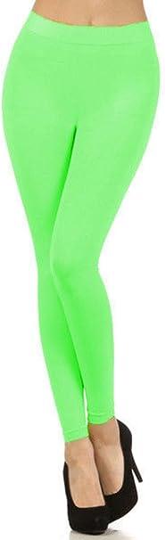 Elegance Girls Cotton Lycra Full Long Ankle Stretch Leggings Lime green