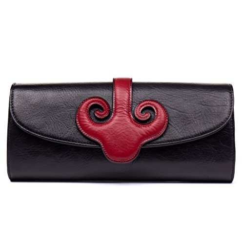Malirona Vintage Evening Clutch Purses Envelope Clutch Bag Shouler Bag Women's Handbag (Black) by Malirona