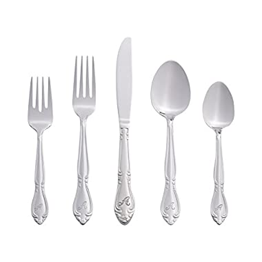 RiverRidge Home Products Rose Monogrammed 46-Piece Flatware Set, Service for 8, A