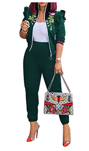 (conjunto de Mujer 2 piesas ropa - Womens 2 Piece Outfits Floral Embroidery Stripe Tracksuit Set Sports Jogger Jacket Suit Bodycon Pants Sweatsuit Green, X-Large)