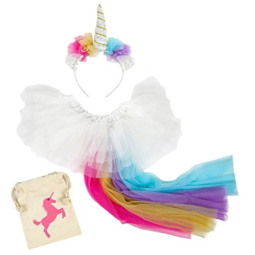 Madam Posy Girls Rainbow Unicorn Costume Horn Headband and Tail Dress up Party Favor Costume Set