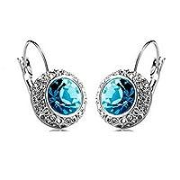 White Platinum Plated Crystal Round Shaped Necklace Bracelet Earrings Set Women Fashion Jewelry