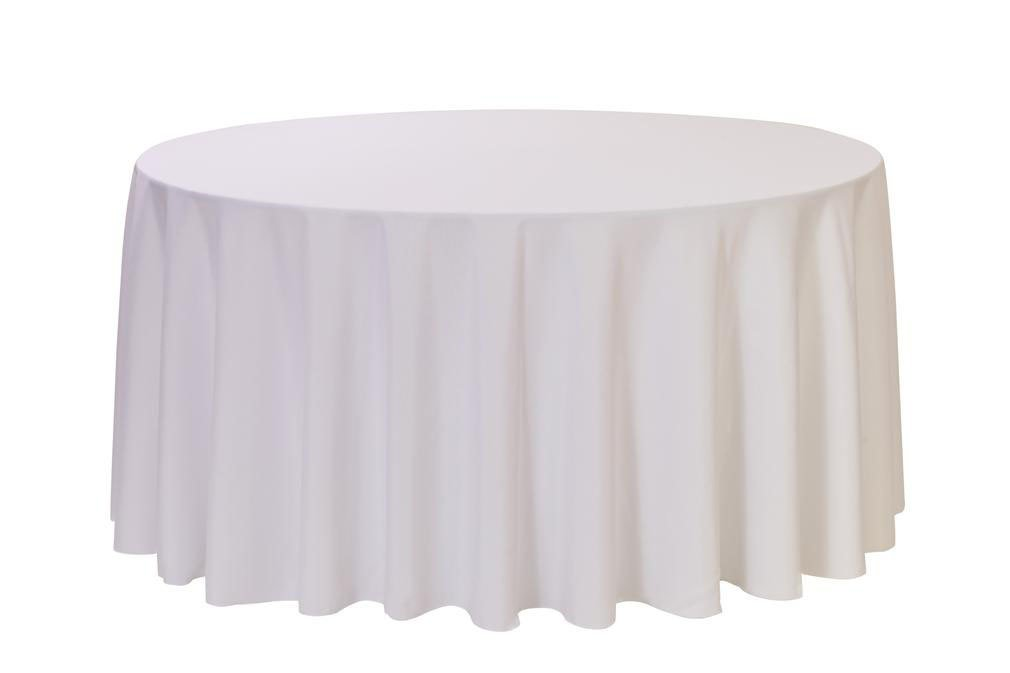 12 Pack 132 Inch Round Polyester Linens for Hotel, Banquet, Party (White)