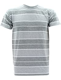Men's White Yarn Dyed Stripe Crew T-Shirts