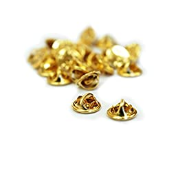APEX Brass Butterfly Clutch Metal Uniform Pin Badge Insignia Clutches Backs - Quantity: 25 Pack
