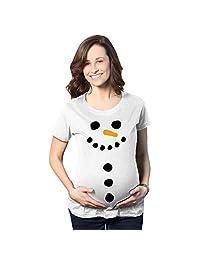 Maternity Snowman Buttons Funny Pregnancy Bump Tee Cute Christmas T shirt (White) -L
