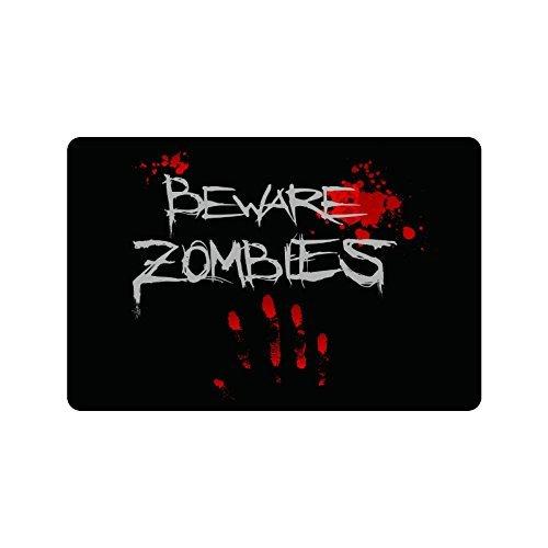 (Wizardry1986 Beware Zombies Doormat Floor Mat with Non-Slip Backing Bath Mat Rug Excellent Home Decor 23.6