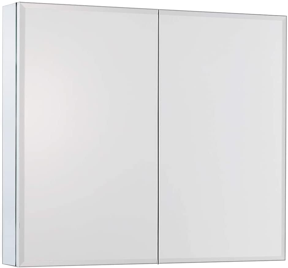 Movo 30 inch X 26 inch Double Doors Medicine Cabinet with Mirror Aluminum Bathroom Medicine Cabinet with Double Mirrors, Waterproof and Rust-Resist, Recess or Surface Mount Installation RC635