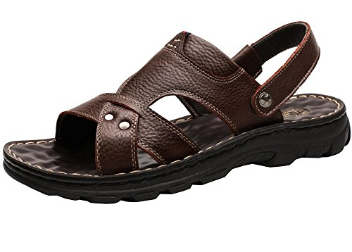 Vocni Heren Open Teen Casual Lederen Comfortabele Schoenen Sandalen Heren Lederen Sandalen Sandalen Voor Heren Bruin