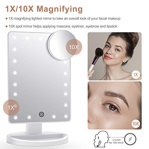 COSMIRROR Lighted Makeup Vanity Mirror with 10X Magnifying Mirror, 21 LED Lighted Mirror with Touch Sensor Dimming, 180°Adjustable Rotation, Dual Power Supply, Portable Cosmetic Mirror (White)