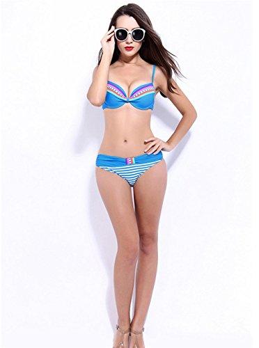 Europa Del Bikini / Traje De Baño / Prop De Acero Se Reúnen Pecho Cintura Pequeña Era Delgada Traje De Baño Femenino Blue