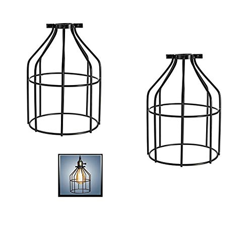 Metal Lamp Guard,Fashionclubs Industrial Bulb Guard Vintage Lamp Holder,Pendant Wire Lamp/Light Guard Cage Lampshades (Pack of Two)