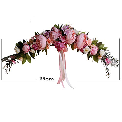 Rose Peony Artificial Flowers Garland European Lintel Wall Decorative Flower Door Wreath for Wedding Home Christmas Decoration,A Rose Pink - China Peony Pink
