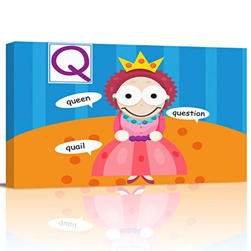 Serain Home Wall Art Canvas Prints Poster, Funny Kid Cartoon Queen Oil Painting Pictures Artwork for Living Room Bedroom Hall
