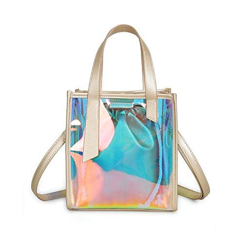 Mn&Sue Summer Vacation Women's DesignerCelebrity Hologram LaserJelly Candy Bag Shoulder Purse (Golden-Style A)