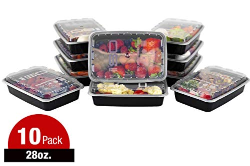 ISO Meal Prep Containers with Lids Certified BPA-Free Stackable Reusable Microwave/Dishwasher/Freezer Safe 28 oz, 10 Count, BLACK