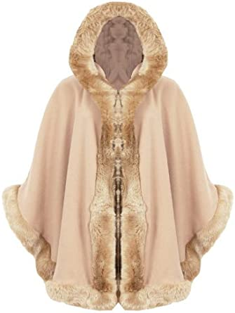 New arrival  Warm Winter Hood Faux Fur Lush Cape Ladies Hooded Wrap Poncho