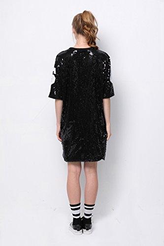 3d7e32702 P&R Sparkle Glitter Sequins Hip Hop Jazz Dancing T-Shirt Dress Plus Size  Clubwear