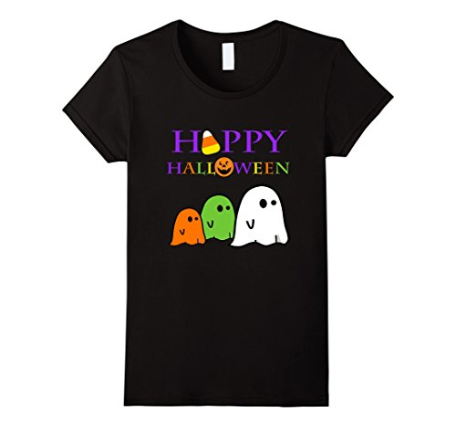 Candy Corn Costume Homemade (Womens Ghost Halloween Shirt Happy Halloween School Teacher Party XL Black)
