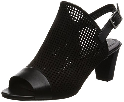 Rockport Womens/Ladies Audrina Peep Toe Slip on Leather Shoes Black