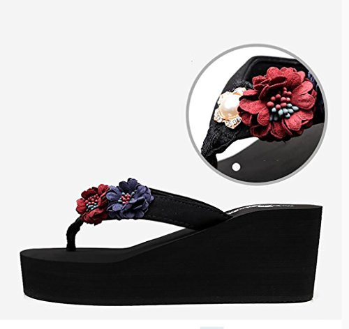 women's wild heeled non sandals wedges slippers slippers C Flat flops Color Flip Sandals high outer wear A soled thick Fashion 38 slip fashion Size wtqz7AcpX