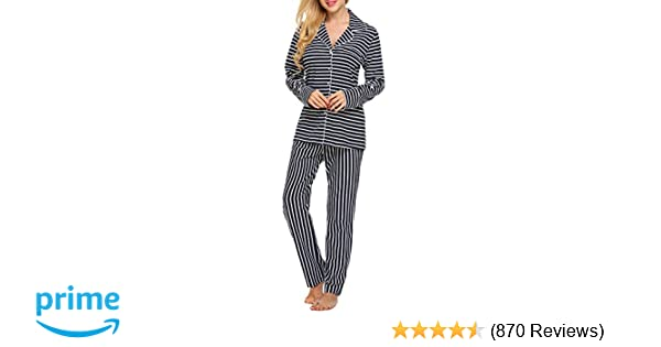 dcd4bb3b2 Ekouaer Pajamas Set Long Sleeve Sleepwear Womens Button Down Nightwear Soft  Pj Lounge Sets XS-XXL