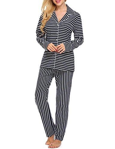 Ekouaer Striped Pajamas Ladies Nightwear Viscose Lounging Wear Plus Size (Blue, XXL)