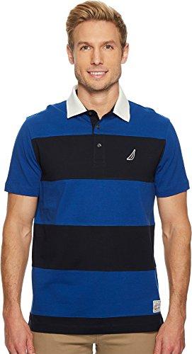 Nautica Men's Classic Fit Cotton Jersey Striped Polo Shirt, Monaco Blue, Large