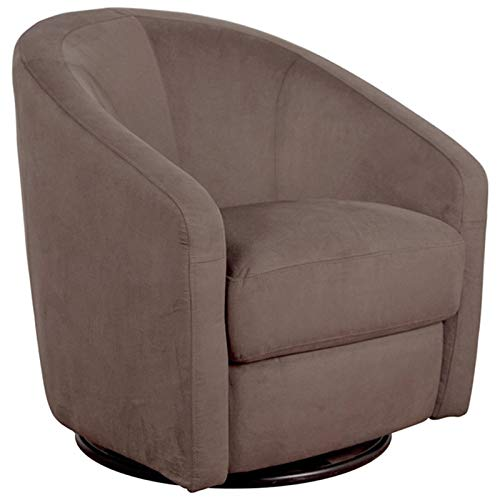 Swivel Barrel Chair - Babyletto Madison Swivel Glider, Slate Microsuede