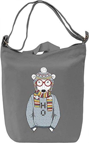 Hipster bear Borsa Giornaliera Canvas Canvas Day Bag| 100% Premium Cotton Canvas| DTG Printing|