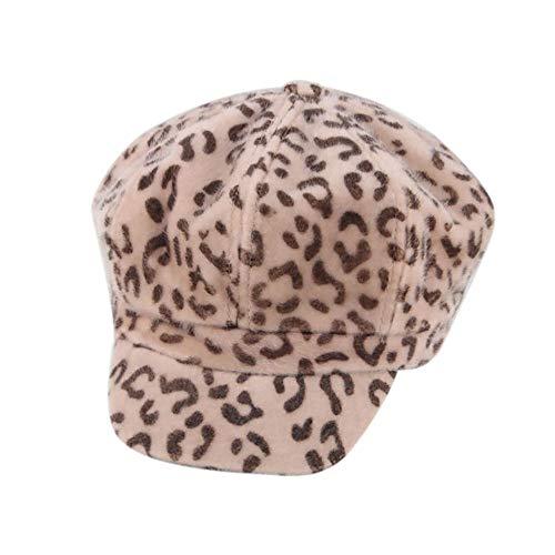 Beret Cap, Women Winter Warm Leopard Print Fashion British Style Hat,Wonderful Gifts (Beige) -