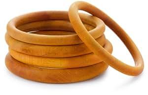 Helene Jewelry Bright Orange Set Of 5 Round Wooden Bangle Bracelet
