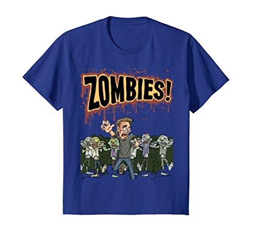 Kids Zombies T-Shirt Cool Halloween Gift Idea TShirt 10 Royal Blue -