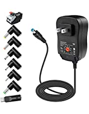 Belker 45W 5V 6V 7.5V 9V 12V 13.5V 15V Universal AC DC Power Supply Adapter for Household Electronics LED Light Strip - 1A 2A 3A 3000mA Amp - Fast USB Port 5V 2A 2.4A Max.