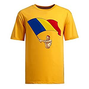 Brazil 2014 FIFA World Cup Short Sleeve T-shirts,National Flag Mens Cotton shirts for Romania Fans yellow
