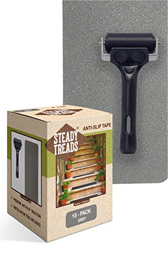 "Steady Treads - Set of PVC-Free, Non-Slip Adhesive Stair Treads and Handy Installation Roller (15qty - 4"" X 24"" + Roller, Grey)"