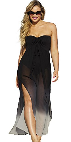 swimsuitsforall Women's Plus Size Chiffon Bandeau Caftan 22 / 24 Black (Chiffon Bandeau)